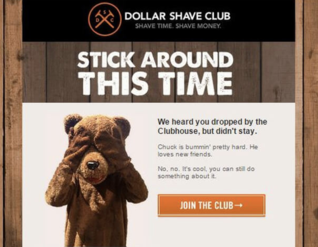 Dollar Shave club : abandoned cart email